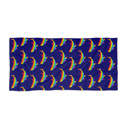 30 x 60 dark purple beach towel with rainbow sharks on it