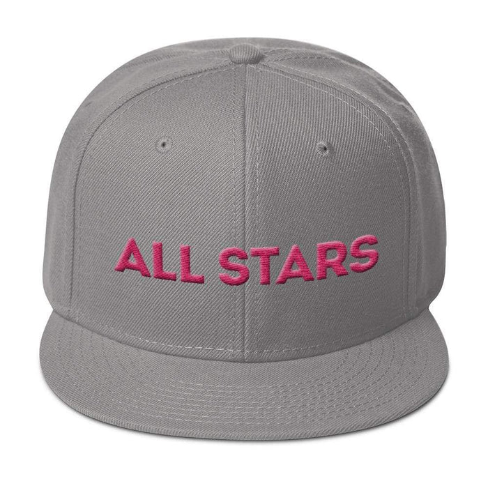 Gray 6 panel snapback hat with gray visor pink embroidered All Stars