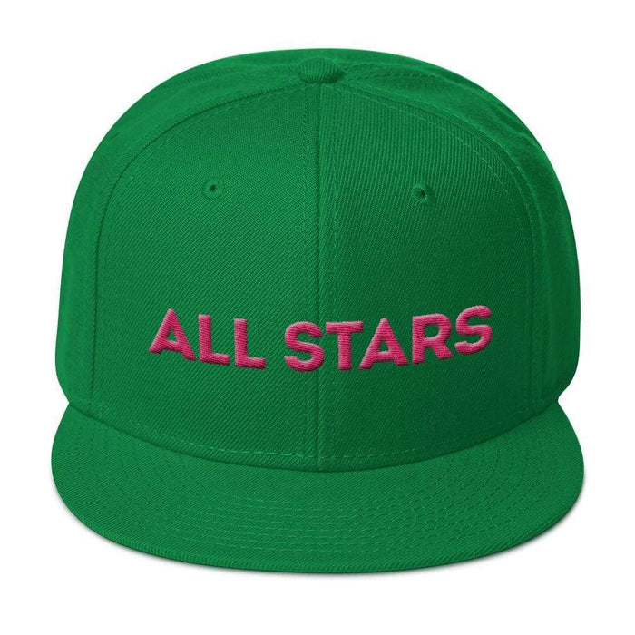 Kelly Green 6 panel snapback hat with Kelly Green visor pink embroidered All Stars