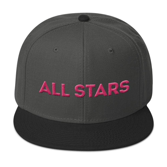 Charcoal 6 panel snapback hat with black visor pink embroidered All Stars