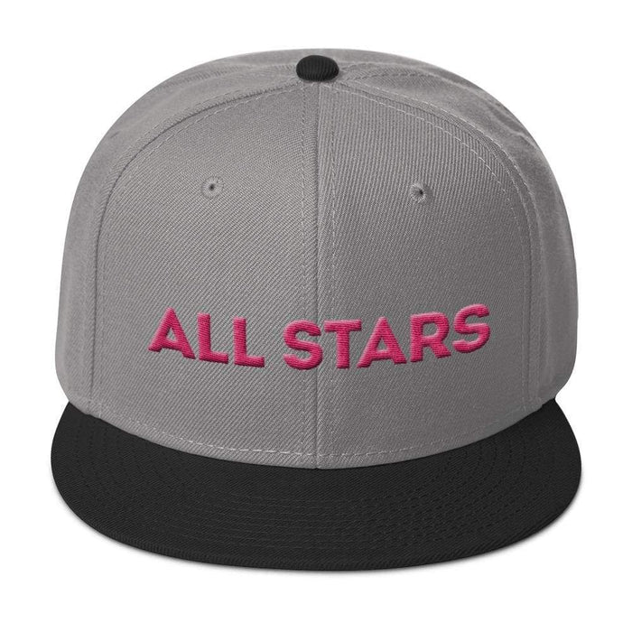Gray 6 panel snapback hat with black visor pink embroidered All Stars
