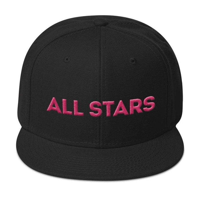 Black 6 panel snapback hat with black visor pink embroidered All Stars
