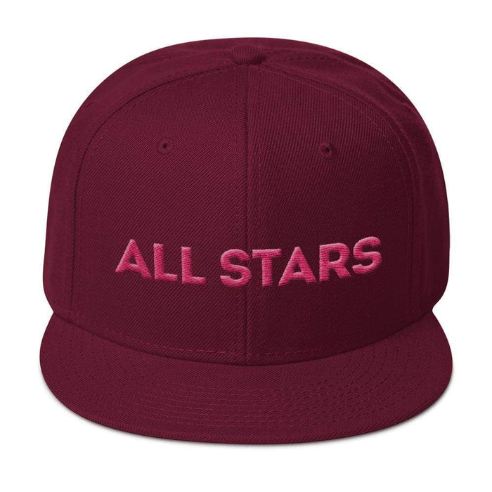 Maroon 6 panel snapback hat with Maroon visor pink embroidered All Stars