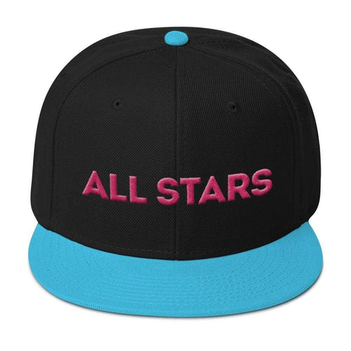 Black 6 panel snapback hat with Aqua Blue visor pink embroidered All Stars