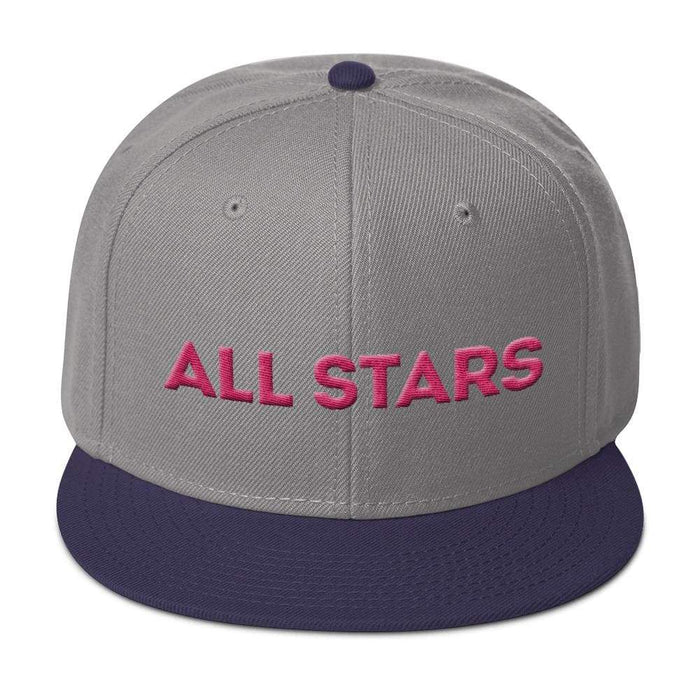Gray 6 panel snapback hat with purple visor pink embroidered All Stars
