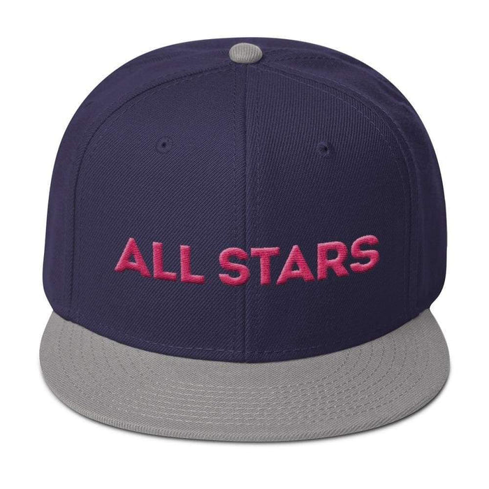 Black 6 panel snapback hat with gray visor pink embroidered All Stars