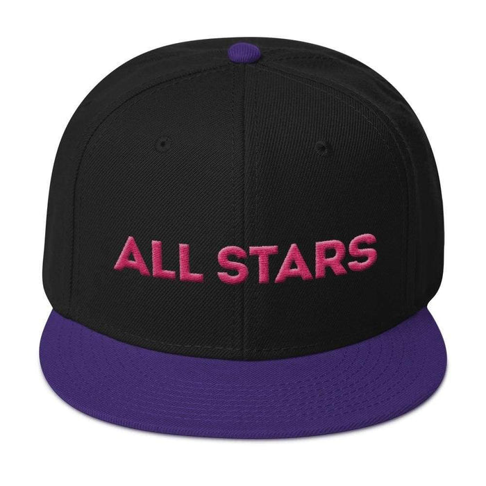 Black 6 panel snapback hat with purple visor pink embroidered All Stars