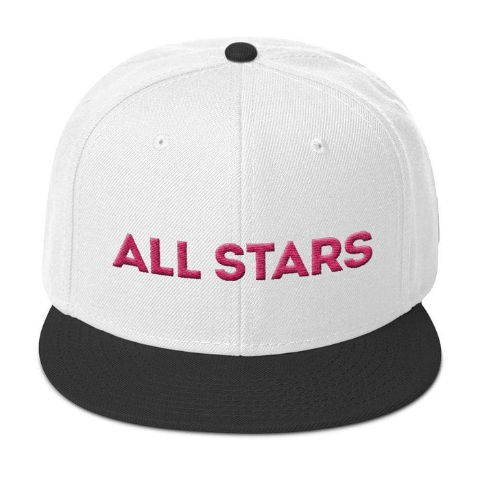 White 6 panel snapback hat with black visor pink embroidered All Stars