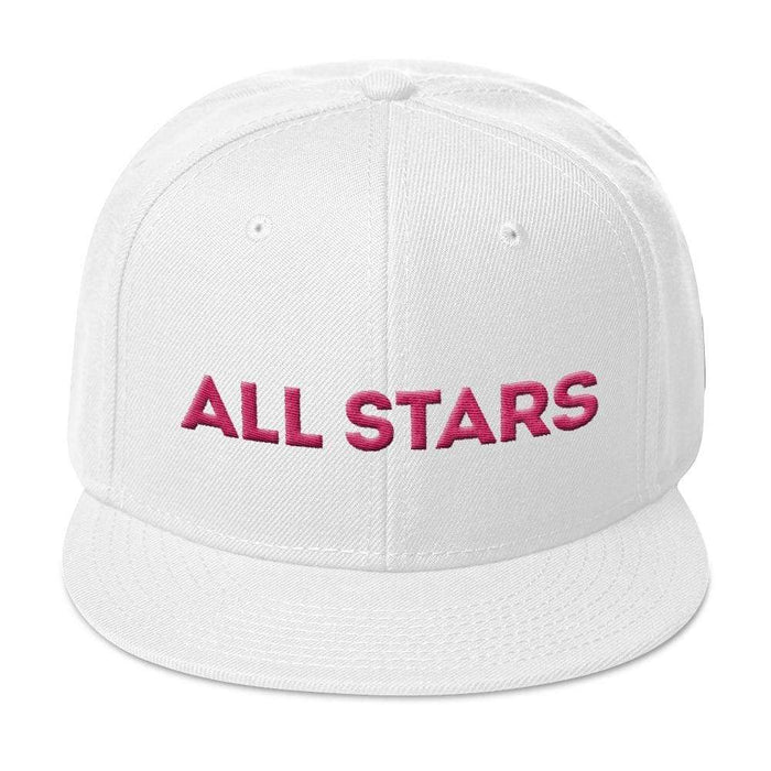 White  6 panel snapback hat with white visor pink embroidered All Stars