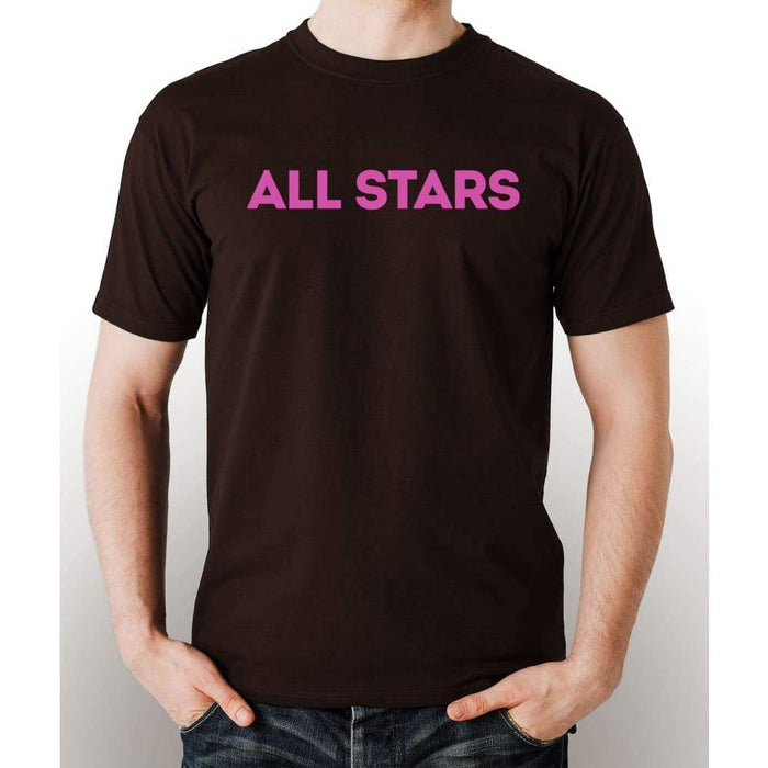Brown 100% pre-shrunk cotton t-shirt with pink All Star logo