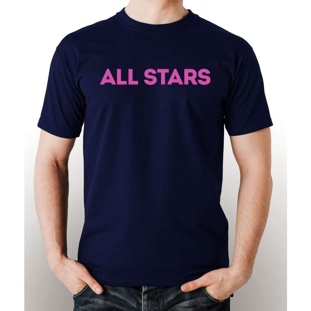 Navy Blue 100% pre-shrunk cotton t-shirt with pink All Star logo
