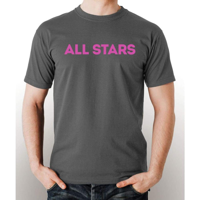 Gray 100% pre-shrunk cotton t-shirt with pink All Star logo