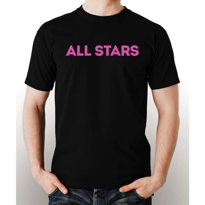 Black 100% pre-shrunk cotton t-shirt with pink All Star logo