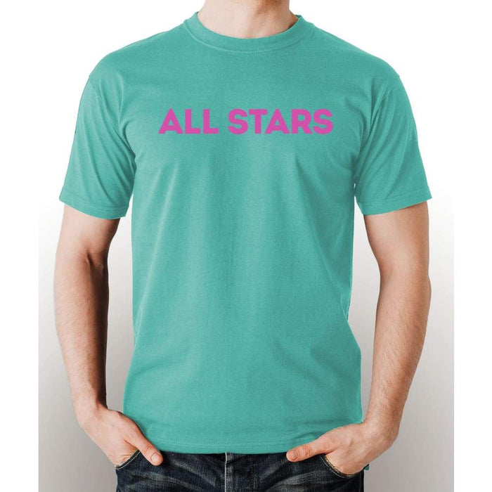 Mint 100% pre-shrunk cotton t-shirt with pink All Star logo