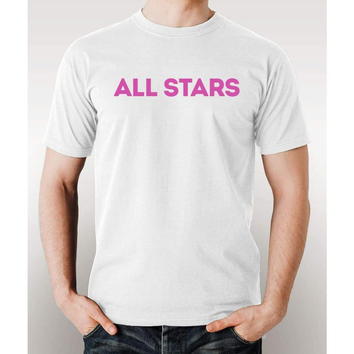 White 100% pre-shrunk cotton t-shirt with pink All Star logo