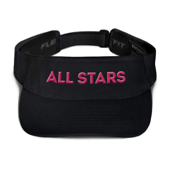 Black visor with matching undervisor Hook & loop closure pink embroidered All Star Logo