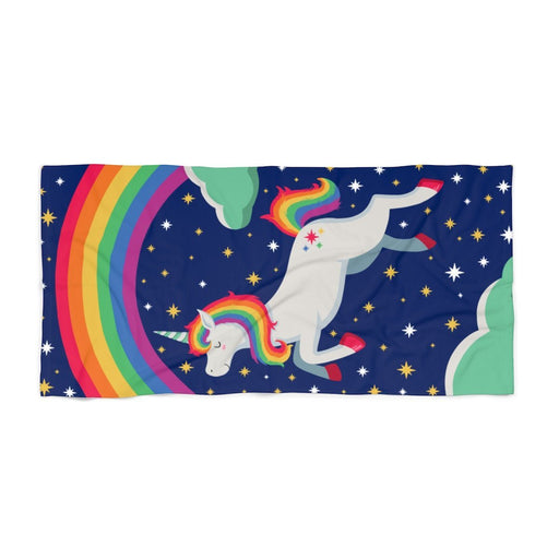 Blue 50% cotton 50% polyester one sided print 30 x 60 beach towel with image of unicorn and rainbow