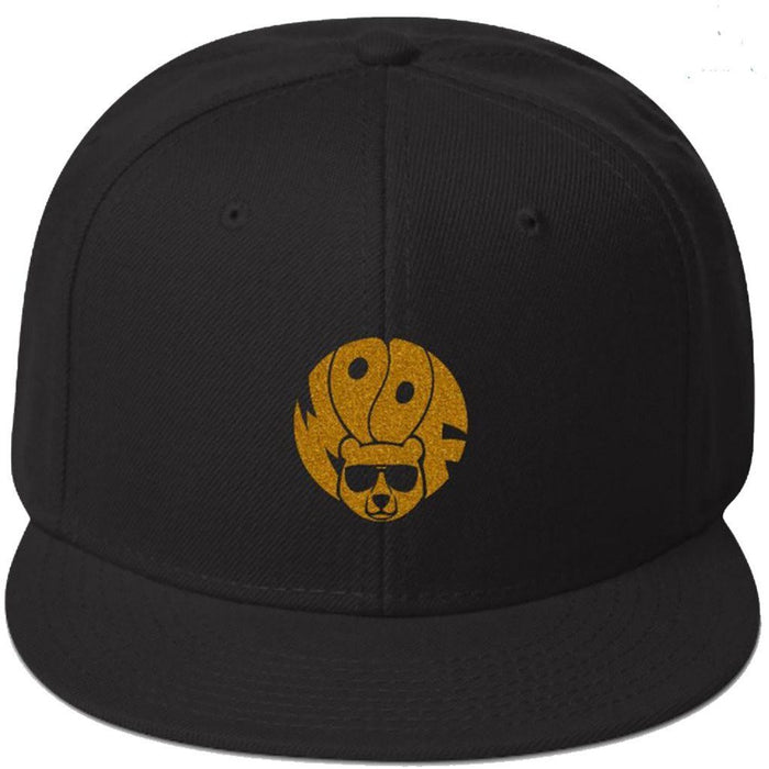 Black 5-panel, structured, high-profile hat with gold glitter image of bear and text woof