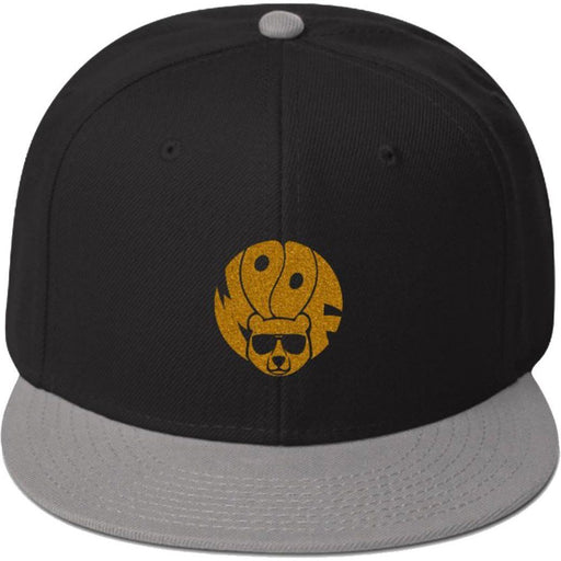 Black and Gret 5-panel, structured, high-profile hat with gold glitter image of bear and text woof
