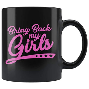 Blach high gloss 110z ceramic mug Dishwasher and Microwave Safe with pink writing