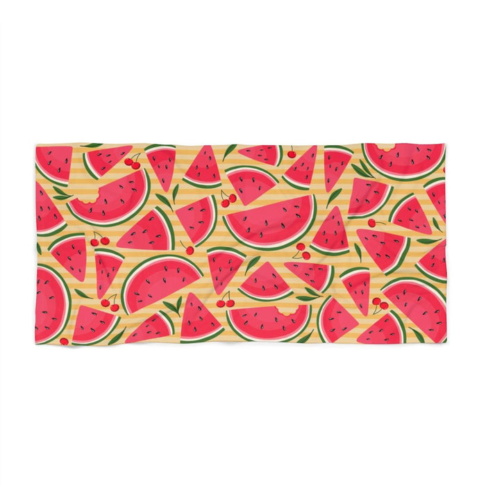 36 x 72 yellow stripped beach towel with images of watermelon and cherries