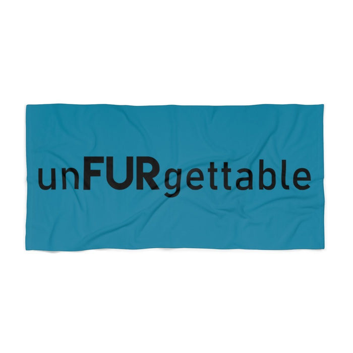 Aqua Blue Beach Towel with Black unFURgettable Text
