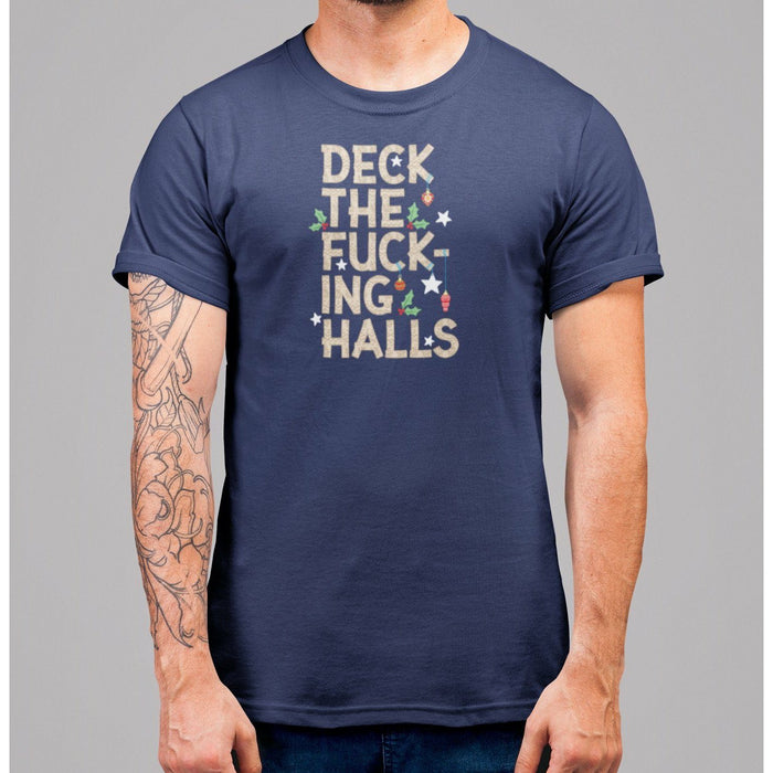 navy shirt with brown text deck the fucking halls