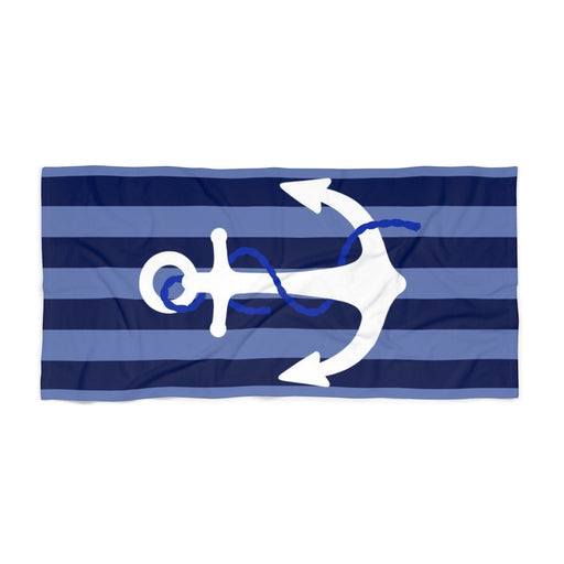 30 x 60 blue stripped beach towel with large white anchor