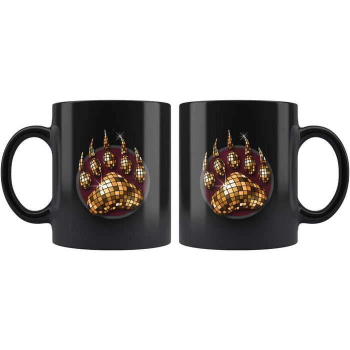 Blach high gloss 11oz ceramic coffee mug Dishwasher and Microwave Safe with image of bear claw