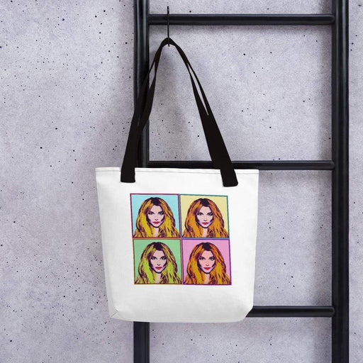 White 15 x 15 weather resistant fabric tote bag with black straps and diva image