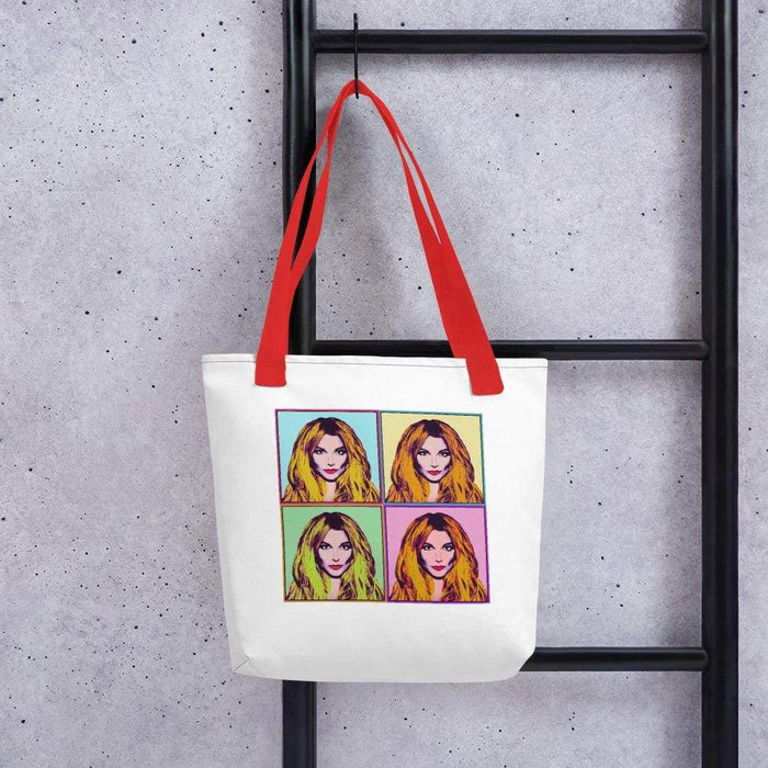 White 15 x 15 weather resistant fabric tote bag with red straps and diva image