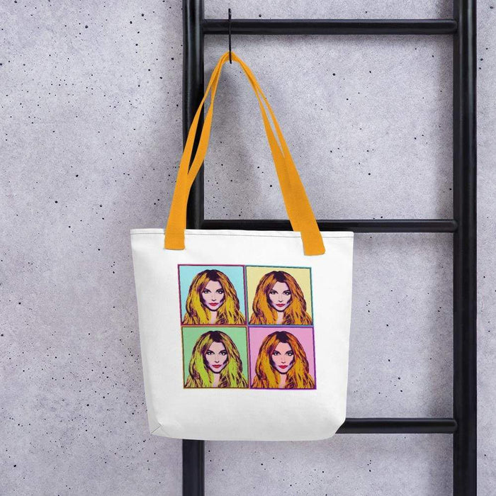 White 15 x 15 weather resistant fabric tote bag with gold straps and diva image