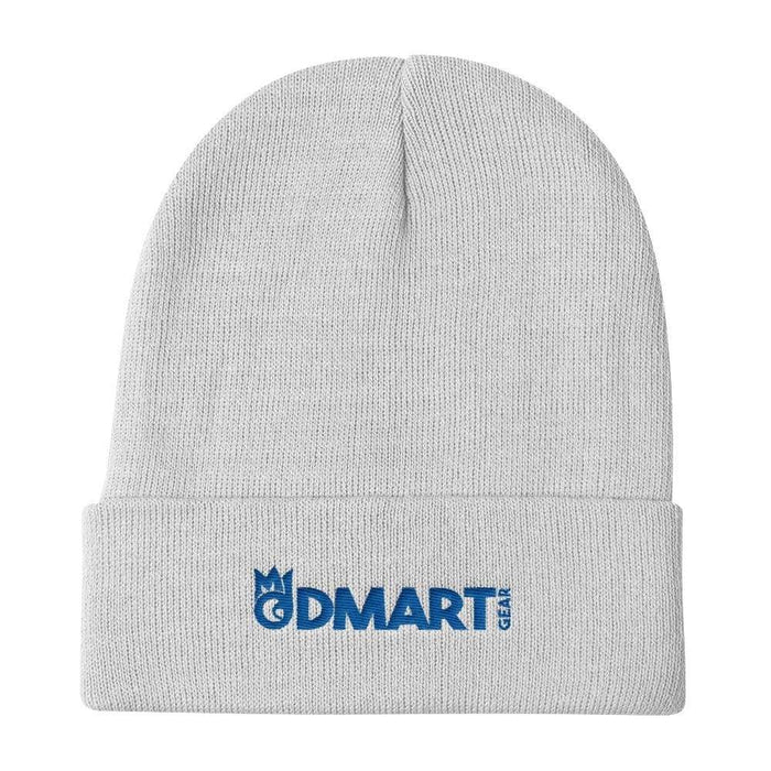 White Knit Beanie with blue embroidered dMart Gear