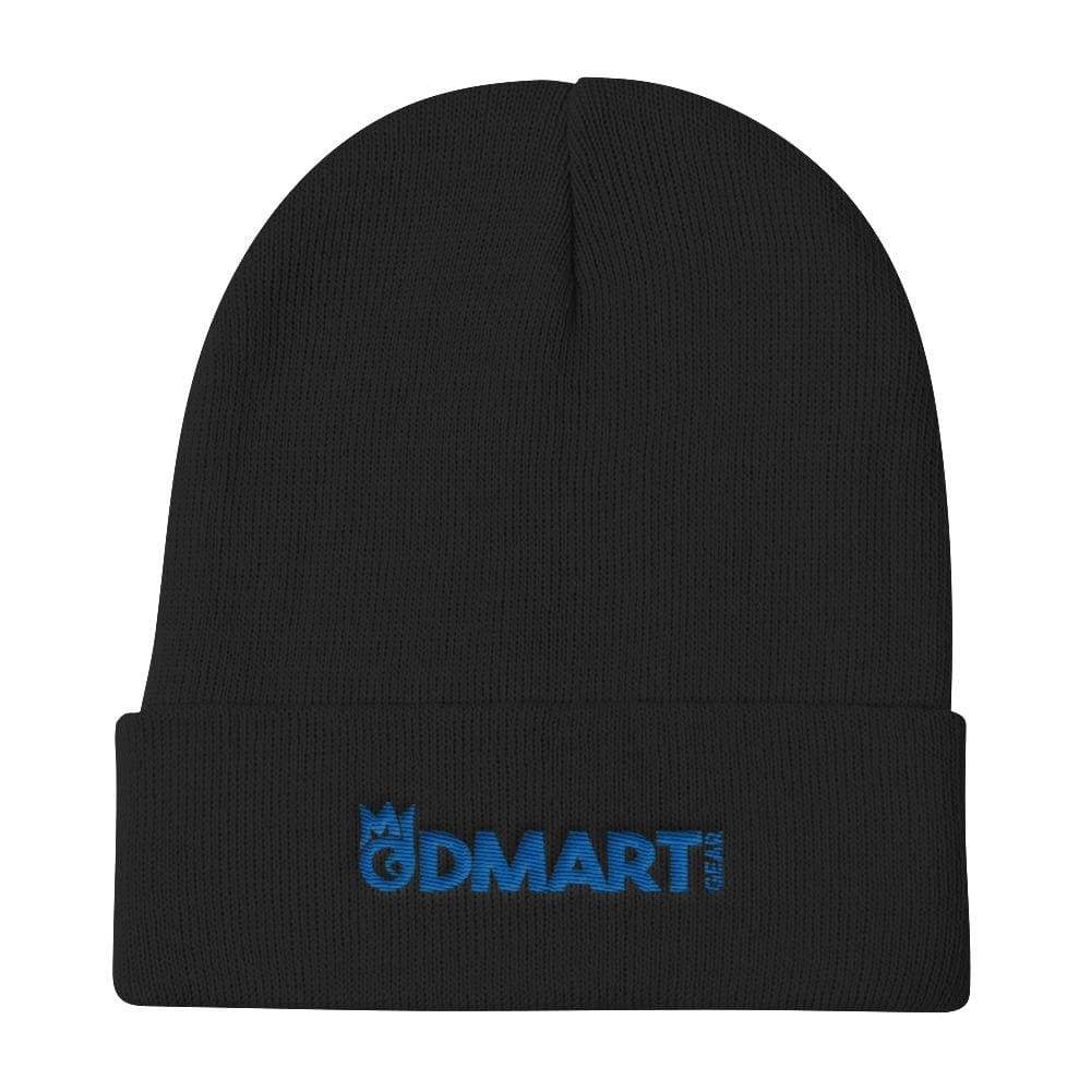 Black Knit Beanie with blue embroidered dMart Gear