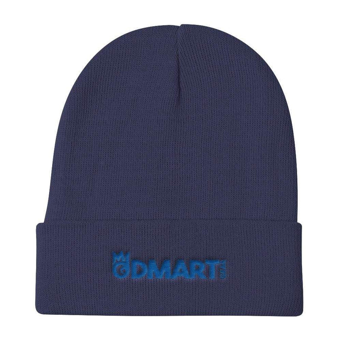 Navy Blue Knit Beanie with blue embroidered dMart Gear