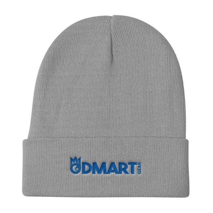 Gray Knit Beanie with blue embroidered dMart Gear
