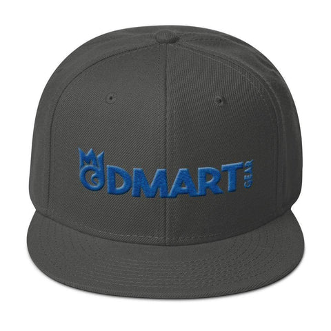 Gray 6 panel snapback hat with Gray visor blue embroidered dMart Gear Logo
