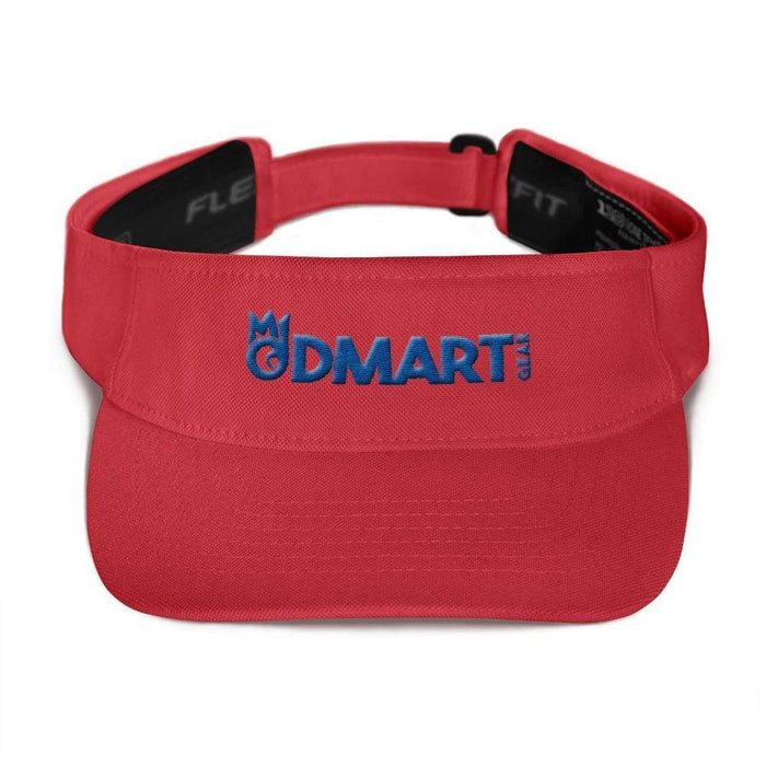 Red visor with matching undervisor Hook & loop closure blue embroidered dMart Gear Logo