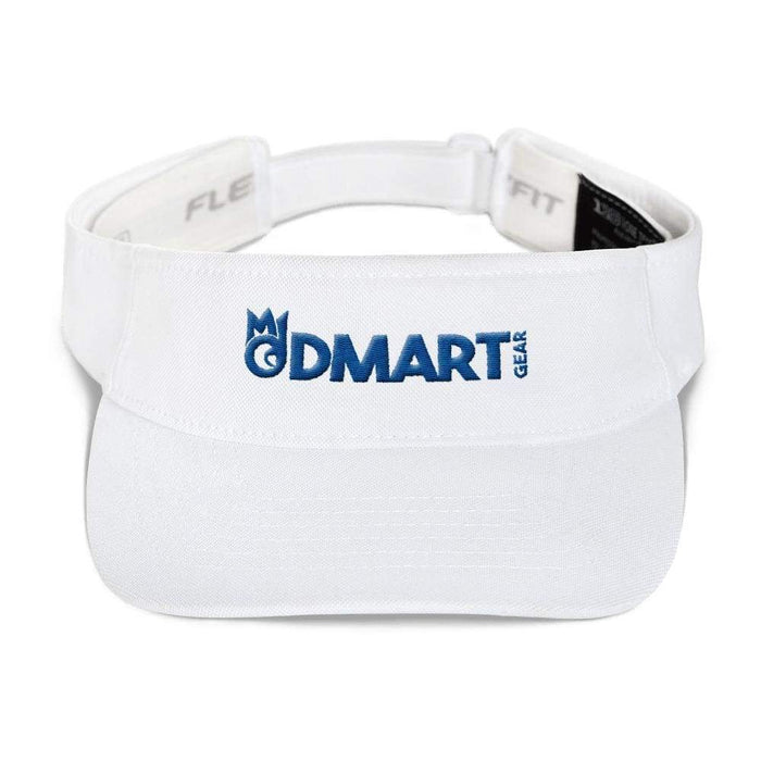 White visor with matching undervisor Hook & loop closure blue embroidered dMart Gear Logo