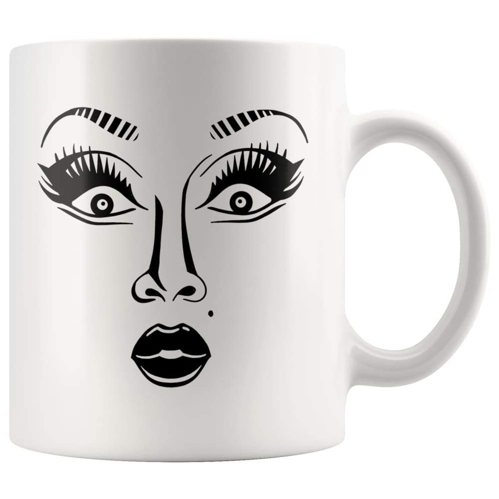 White high gloss 11oz ceramic coffee mug Dishwasher and Microwave Safe with image of a face on it