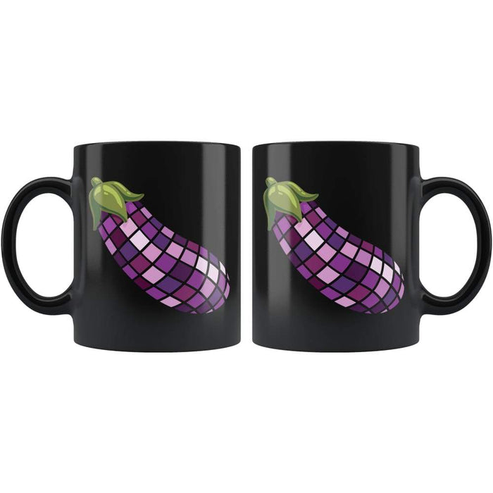 Black high gloss 11oz ceramic coffee mug Dishwasher and Microwave Safe with image of a eggplant