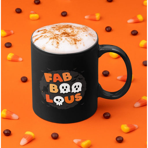 Black high gloss 11oz ceramic coffee mug with Halloween colors spelling out FabBooLous