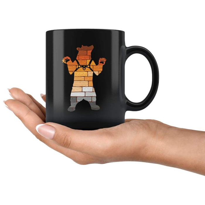 Black high gloss 11oz ceramic mug Dishwasher and Microwave Safe with image of a bear in harness