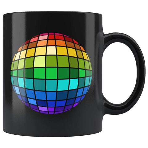 Black high gloss 11oz ceramic mug Dishwasher and Microwave Safe with image of a rainbow disco ball
