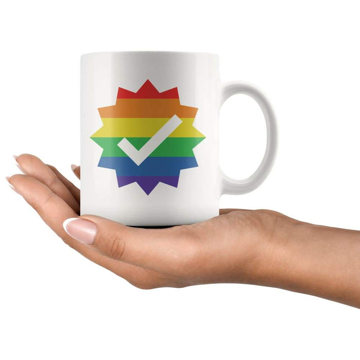 White high gloss 11oz ceramic mug Dishwasher and Microwave Safe with image of a rainbow check mark