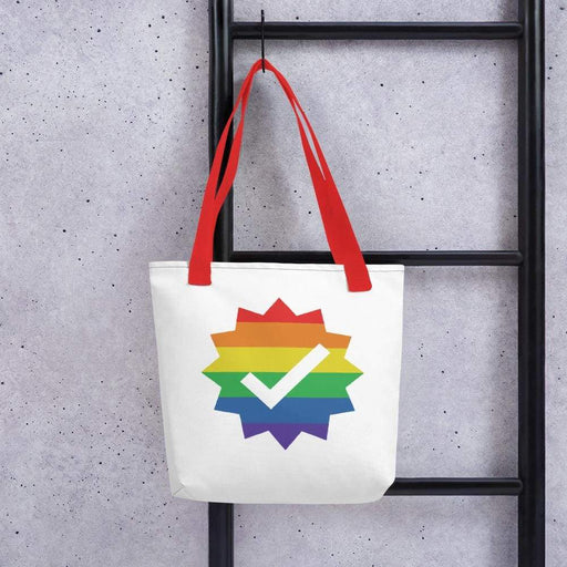 White 15 x 15 weather resistant fabric tote bag with red straps and rainbow checkmark image