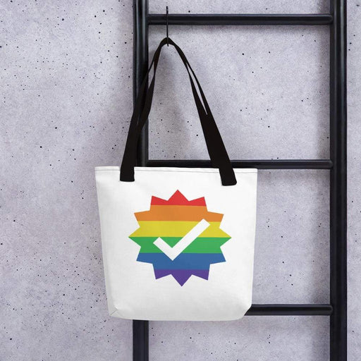 White 15 x 15 weather resistant fabric tote bag with black straps and rainbow checkmark image