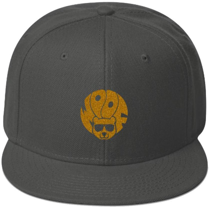 Grey 5-panel, structured, high-profile hat with gold glitter image of bear and text woof