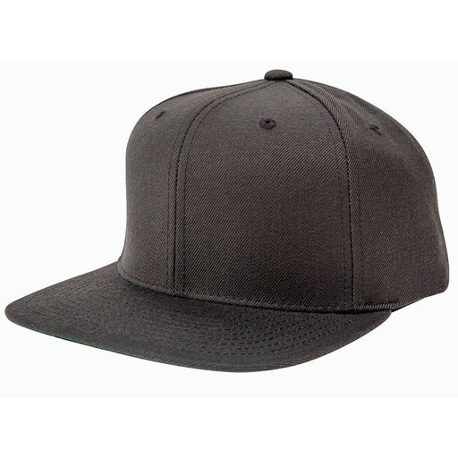 Grey 5-panel, structured, high-profile hat with white text Woof