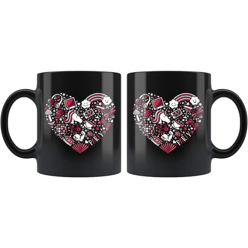 Black high gloss 110z ceramic coffee mug Dishwasher and Microwave Safe with image of a red heart